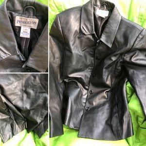 Preowned Pendleton Black Leather Jacket M